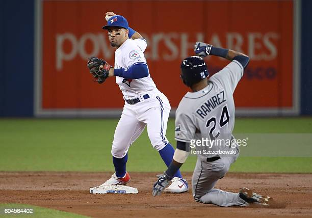 Devon Travis of the Toronto Blue Jays turns a double play to end the third inning during MLB game action as Alexei Ramirez of the Tampa Bay Rays...