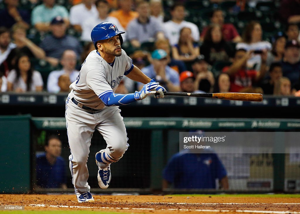 Devon Travis #29 of the Toronto Blue Jays watches his RBI double in the third inning of their game against the Houston Astros at Minute Maid Park on May 14, 2015 in Houston, Texas.