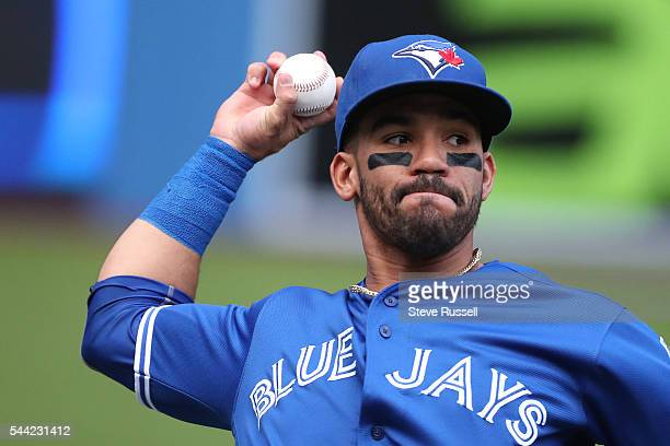 TORONTO ON JULY 2 Devon Travis warms up before the game as the Toronto Blue Jays beat the Cleveland Indians 96 to end their 14 game winning streak at...