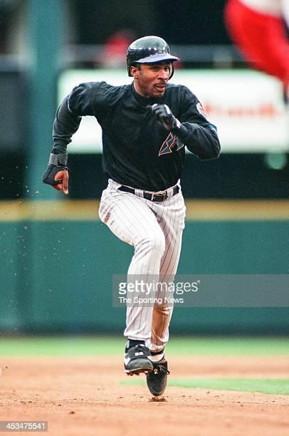 Devon White of the Arizona Diamondbacks during the game against the St Louis Cardinals on April 16 1998 at Busch Stadium in St Louis Missouri