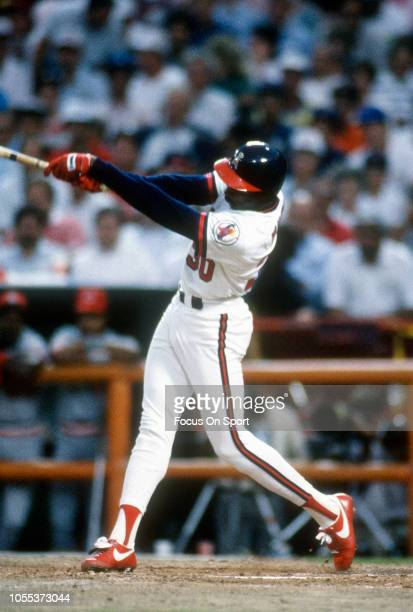 Devon White of the California Angels and the American League bats against the National League during Major League Baseball 1989 All Star game July 11...