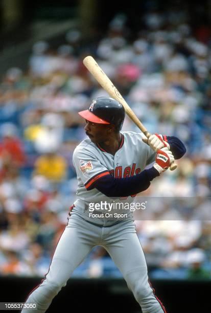 Devon White of the California Angles bats against the Baltimore Orioles during an Major League Baseball game circa 1989 at Memorial Stadium in...
