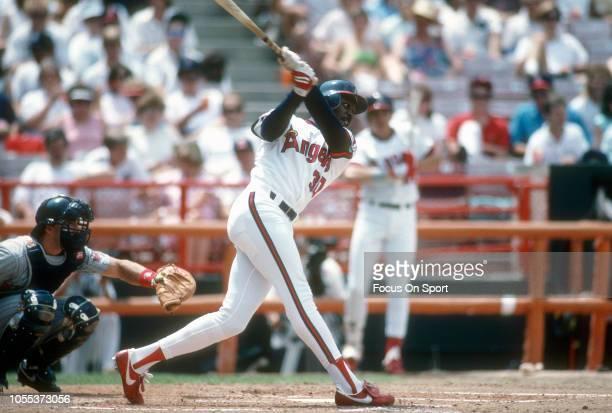 Devon White of the California Angles bats against the Minnesota Twins during an Major League Baseball game circa 1989 at Anaheim Stadium in Anaheim...
