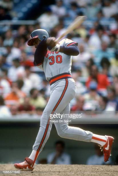 Devon White of the California Angles bats against the New York Yankees during an Major League Baseball game circa 1987 at Yankee Stadium in the Bronx...