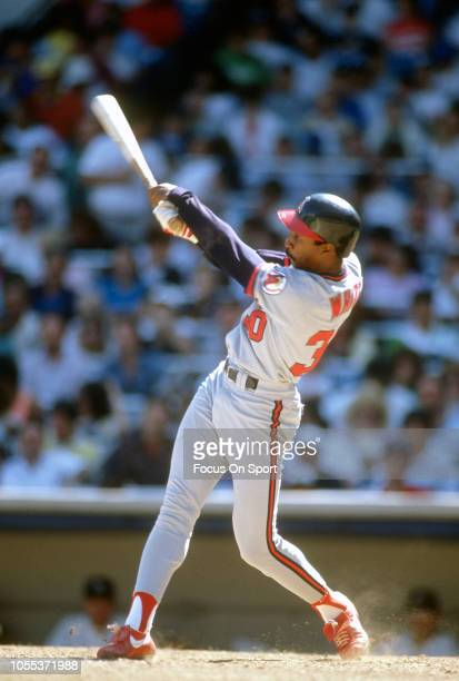 Devon White of the California Angles bats against the New York Yankees during an Major League Baseball game circa 1989 at Yankee Stadium in the Bronx...