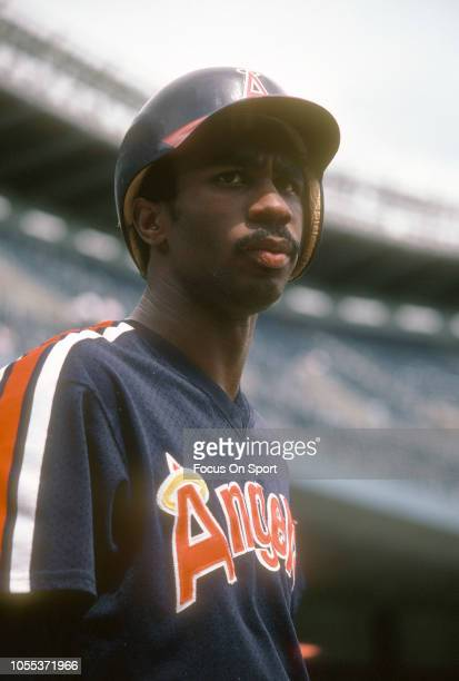 Devon White of the California Angles looks on during batting practice prior to playiny the New York Yankees in a Major League Baseball game circa...