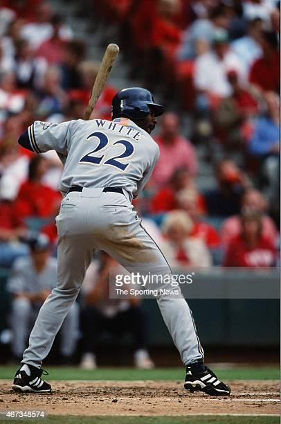 Devon White of the Milwaukee Brewers bats against the St Louis Cardinals on September 19 2001