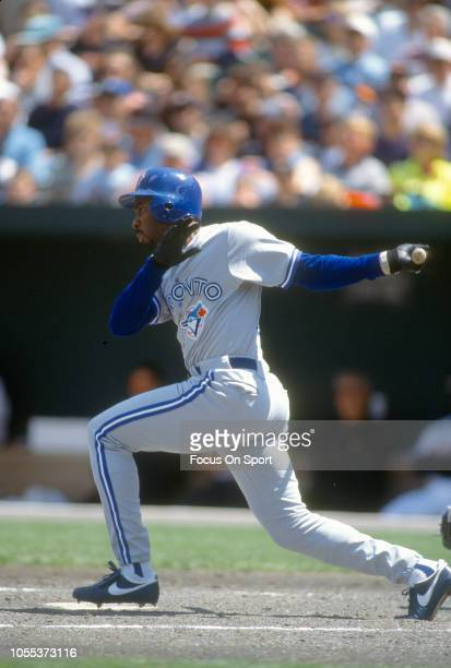 Devon White of the Toronto Blue Jays bats against the Baltimore Orioles during a Major League Baseball game circa 1995 at Oriole Park at Camden Yards...