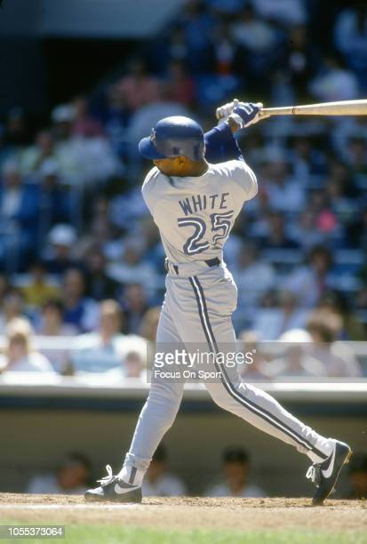 Devon White of the Toronto Blue Jays bats against the New York Yankees during an Major League Baseball game circa 1991 at Yankee Stadium in the Bronx...