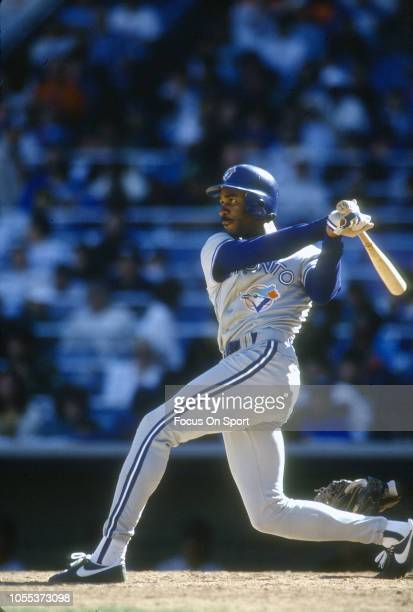 Devon White of the Toronto Blue Jays bats against the New York Yankees during an Major League Baseball game circa 1995 at Yankee Stadium in the Bronx...