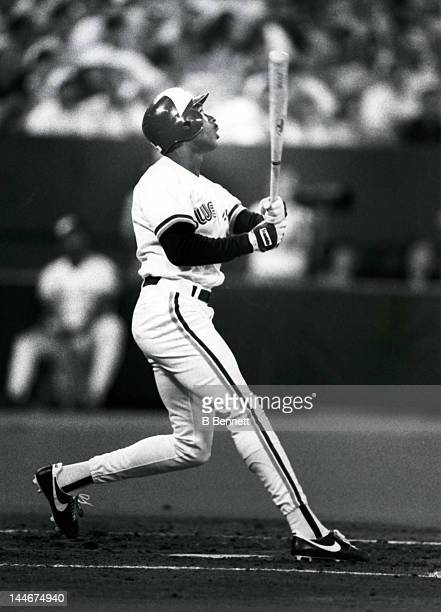 Devon White of the Toronto Blue Jays swings at a pitch during an MLB game circa 1992 at the Toronto Skydome in Toronto Ontario Canada