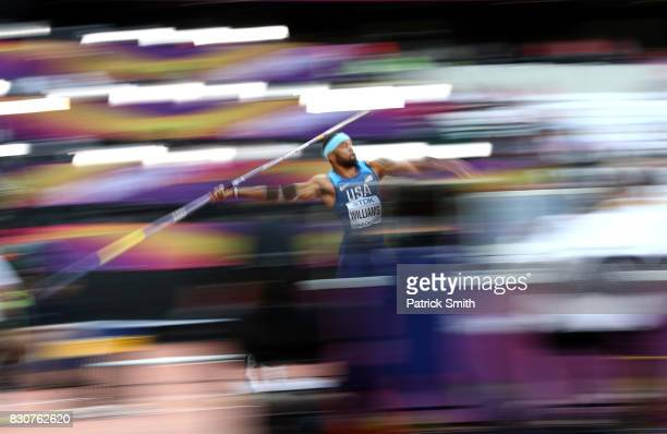 Devon Williams of the United States competes in the Men's Decathlon Javelin during day nine of the 16th IAAF World Athletics Championships London...
