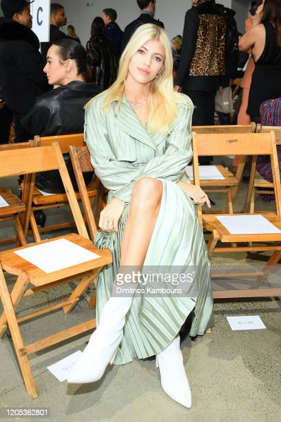Devon Windsor attends the Jonathan Simkhai front row during New York Fashion Week: The Shows at Gallery I at Spring Studios on February 10, 2020 in...
