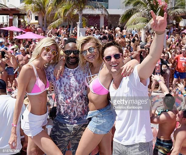 Devon Windsor DJ Irie Rachel Hilbert and Diego Boneta attend Victoria's Secret PINK Nation Spring Break Beach Party in Cancun Mexico on March 15 2016...