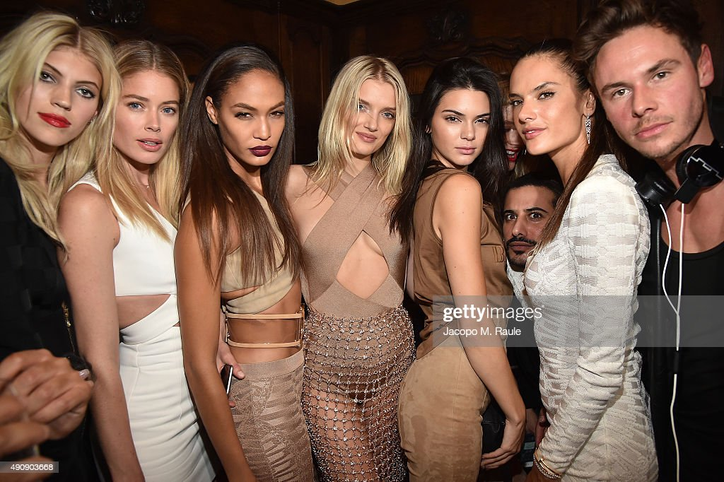Devon Windsor, Doutzen Kroes, Joan Smalls, Lily Donaldson, Kendall Jenner, Mohamed Sultan, Alessandra Ambrosio and Cedric Marian Alexander attend Balmain aftershow party as part of Paris Fashion Week Womenswear Spring/Summer 2016 at Laperouse on October 1, 2015 in Paris, France.