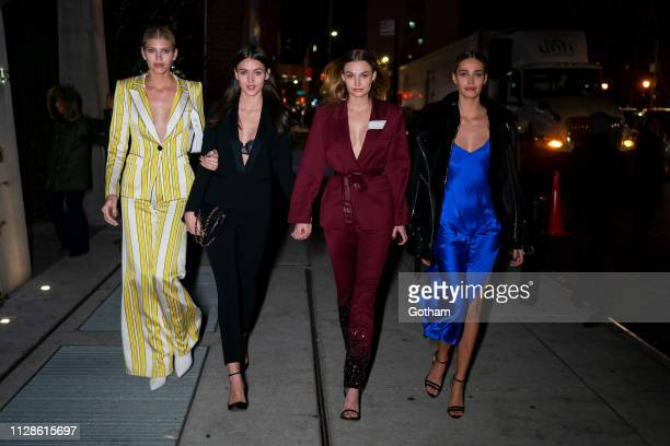 Devon Windsor Gabby Westbrook Roosmarijn de Kok and Noel Berry attend Maybelline New York Fashion Week Party at the Public Hotel on February 09 2019...