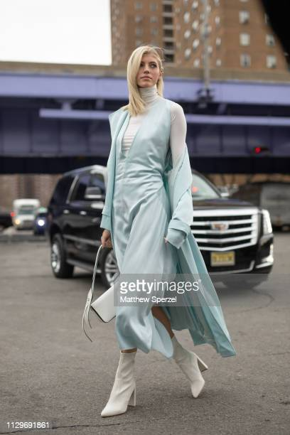 Devon Windsor is seen on the street during New York Fashion Week AW19 wearing BOSS on February 13 2019 in New York City