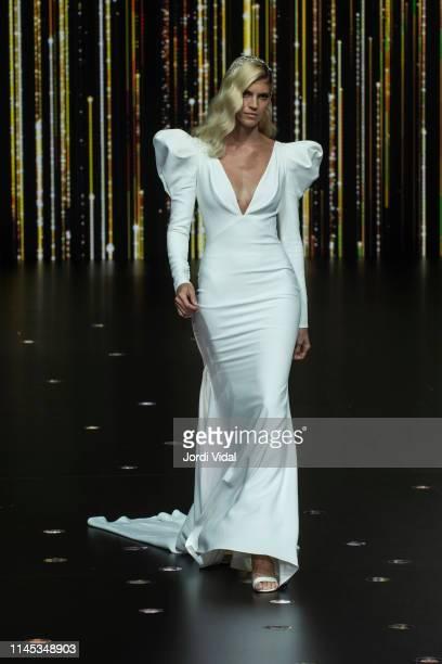 Devon Windsor walks the runway at Pronovias show during Valmont Barcelona Bridal Fashion Week at Fira Barcelona Montjuic on April 26 2019 in...