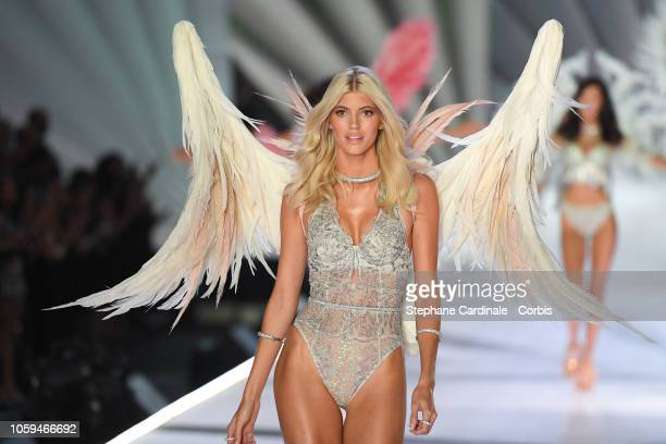 Devon Windsor walks the runway at the 2018 Victoria's Secret Fashion Show at Pier 94 on November 8 2018 in New York City