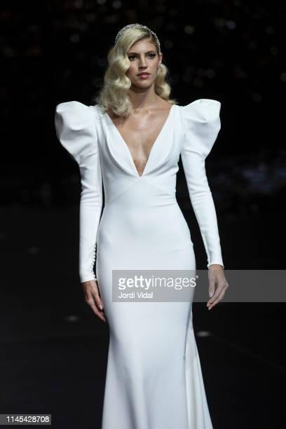 Devon Winsdor attends Pronovias rehearsal during Valmont Barcelona Bridal Fashion Week at Fira Barcelona Montjuic on April 26 2019 in Barcelona Spain
