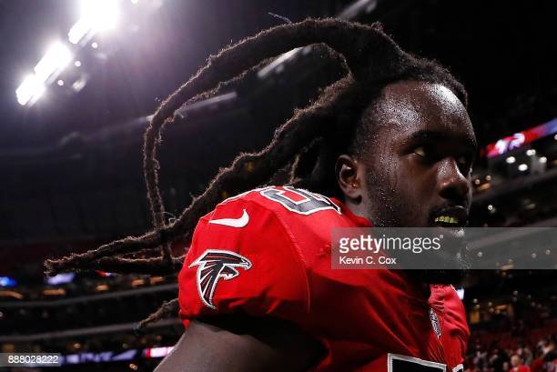 De'Vondre Campbell of the Atlanta Falcons reacts after their 2017 win over the New Orleans Saints at MercedesBenz Stadium on December 7 2017 in...