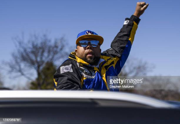 Devonne Mayweather stages a protest on Hiawatha Avenue while calling for justice for George Floyd on April 1, 2021 in Minneapolis, Minnesota. The...