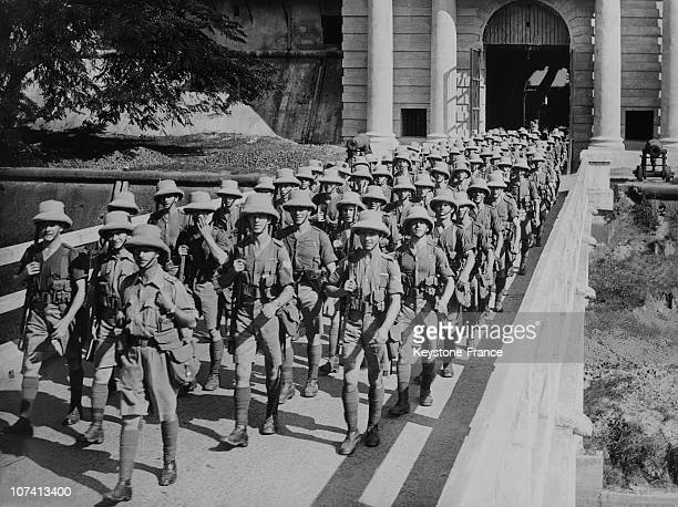 Devonshire Regiment Leaving Out Fort William At Calcutta In India
