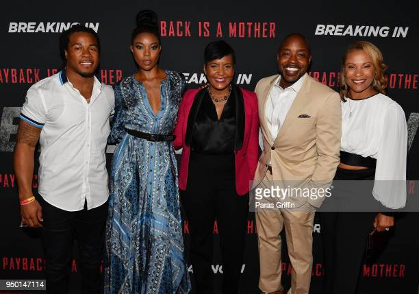 Devonta Freeman Gabrielle Union Keisha Lance Bottoms Will Packer and Heather Hayslett Packer attend Breaking In Atlanta Private Screening at Regal...