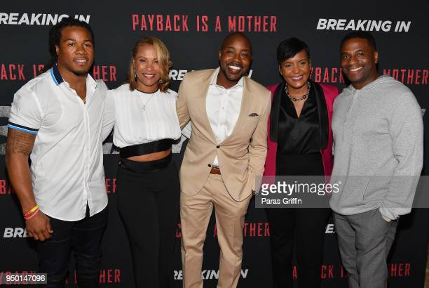 Devonta Freeman Heather Hayslett Packer Will Packer Keisha Lance Bottoms and James Lopez attend Breaking In Atlanta Private Screening at Regal...