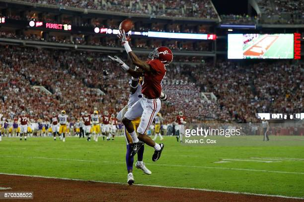 DeVonta Smith of the Alabama Crimson Tide fails to pull in this touchdown reception against John Battle of the LSU Tigers at BryantDenny Stadium on...