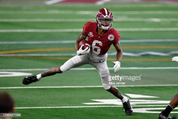 DeVonta Smith of the Alabama Crimson Tide moves on the field during the College Football Playoff Semifinal at the Rose Bowl football game against the...