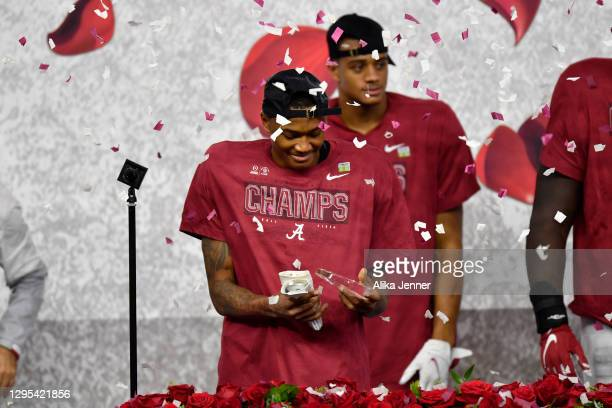 DeVonta Smith of the Alabama Crimson Tide named the Rose Bowl Offense MVP award after the College Football Playoff Semifinal at the Rose Bowl...