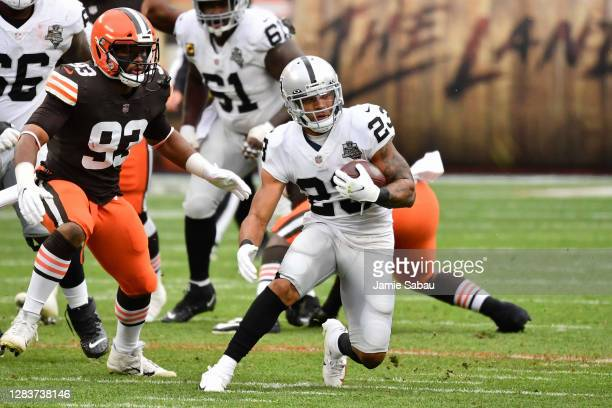 Devontae Booker of the Las Vegas Raiders carries the ball against the Cleveland Browns at FirstEnergy Stadium on November 1, 2020 in Cleveland, Ohio.