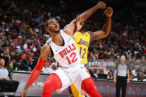 Devontae Cacok of the Los Angeles Lakers and Daniel Gafford of the Chicago Bulls jocks for a position during Day 1 of the 2019 Las Vegas Summer...