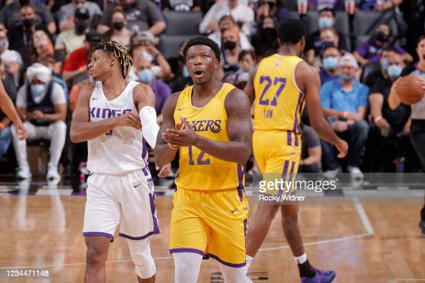 Devontae Cacok of the Los Angeles Lakers celebrates during the 2021 California Classic Summer League on August 4, 2021 at Golden 1 Center in...