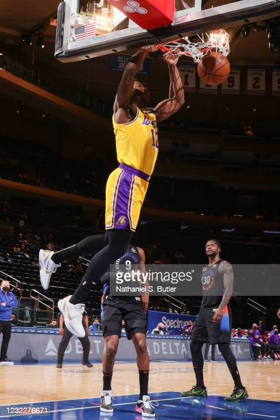 Devontae Cacok of the Los Angeles Lakers dunks the ball during the game against the New York Knicks on April 12, 2021 at Madison Square Garden in New...