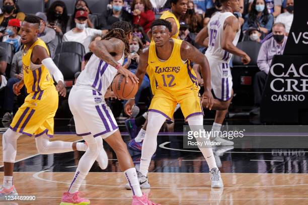 Devontae Cacok of the Los Angeles Lakers plays defense against the Sacramento Kings during the 2021 California Classic Summer League on August 4,...