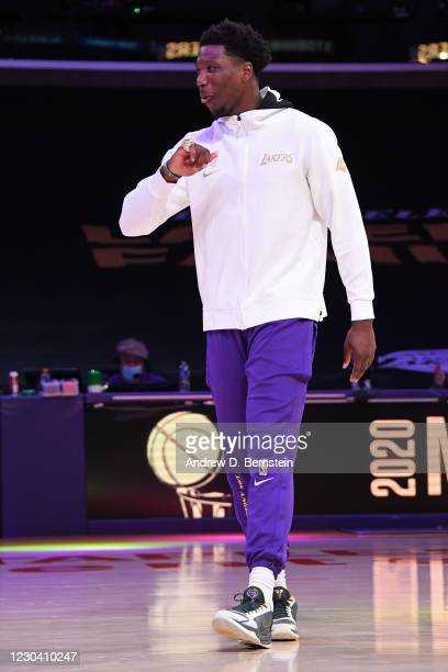 Devontae Cacok of the Los Angeles Lakers reacts as he gets his 2019-20 NBA Championship ring during the ring ceremony before the game against the LA...