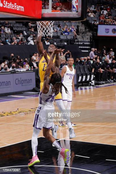 Devontae Cacok of the Los Angeles Lakers shoots the ball against the Sacramento Kings during the 2021 California Classic Summer League on August 4,...