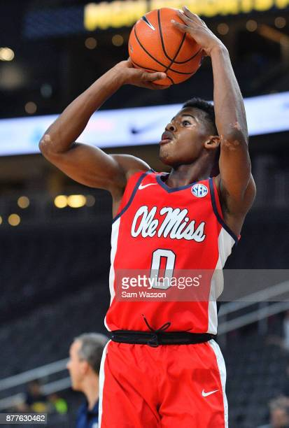 Devontae Shuler of the Mississippi Rebels shoots against the Rice Owls during day two of the Main Event basketball tournament at TMobile Arena on...