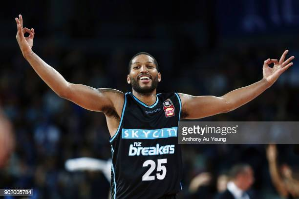 Devonte DJ Newbill of the Breakers celebrates a three pointer during the round 13 NBL match between the New Zealand Breakers and the Cairns Taipans...