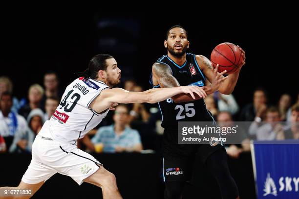 Devonte DJ Newbill of the Breakers competes against Chris Goulding of United during the round 18 NBL match between the New Zealand Breakers and...