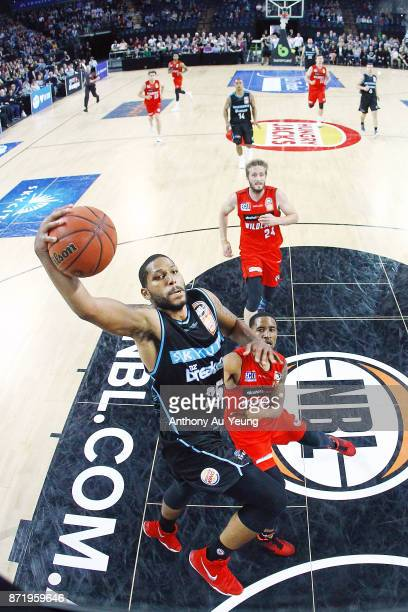 Devonte DJ Newbill of the Breakers goes up for a dunk during the round six NBL match between the New Zealand Breakers and the Perth Wildcats at Spark...