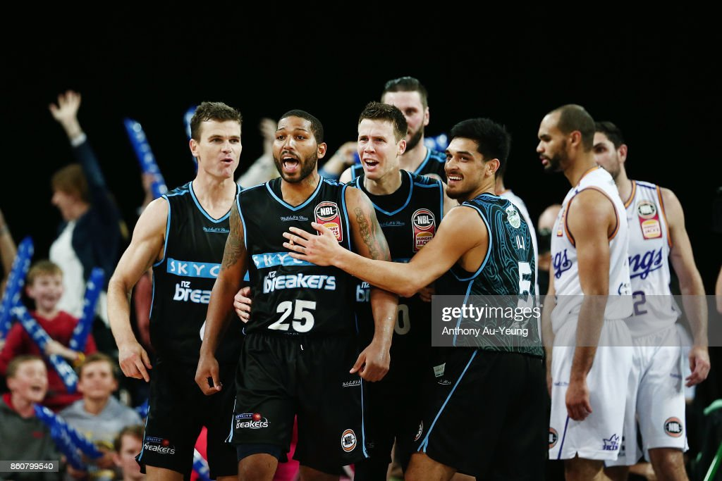 Devonte DJ Newbill of the Breakers is mobbed by teammates after scoring the winning and-one basket during the round two NBL match between the New Zealand Breakers and the Sydney Kings at Spark Arena on October 13, 2017 in Auckland, New Zealand.