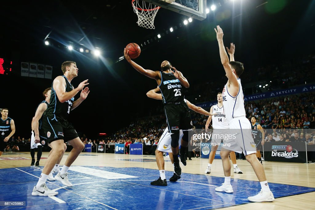 Devonte DJ Newbill of the Breakers puts up a shot during the round nine NBL match between the New Zealand Breakers and the Brisbane Bullets at Spark Arena on December 7, 2017 in Auckland, New Zealand.