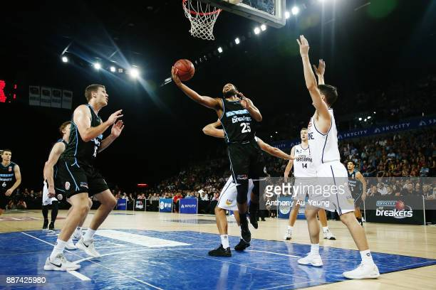 Devonte DJ Newbill of the Breakers puts up a shot during the round nine NBL match between the New Zealand Breakers and the Brisbane Bullets at Spark...