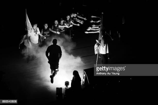 Edgar Sosa of the Breakers runs out during the players introduction during the round 10 NBL match between the New Zealand Breakers and the Adelaide...
