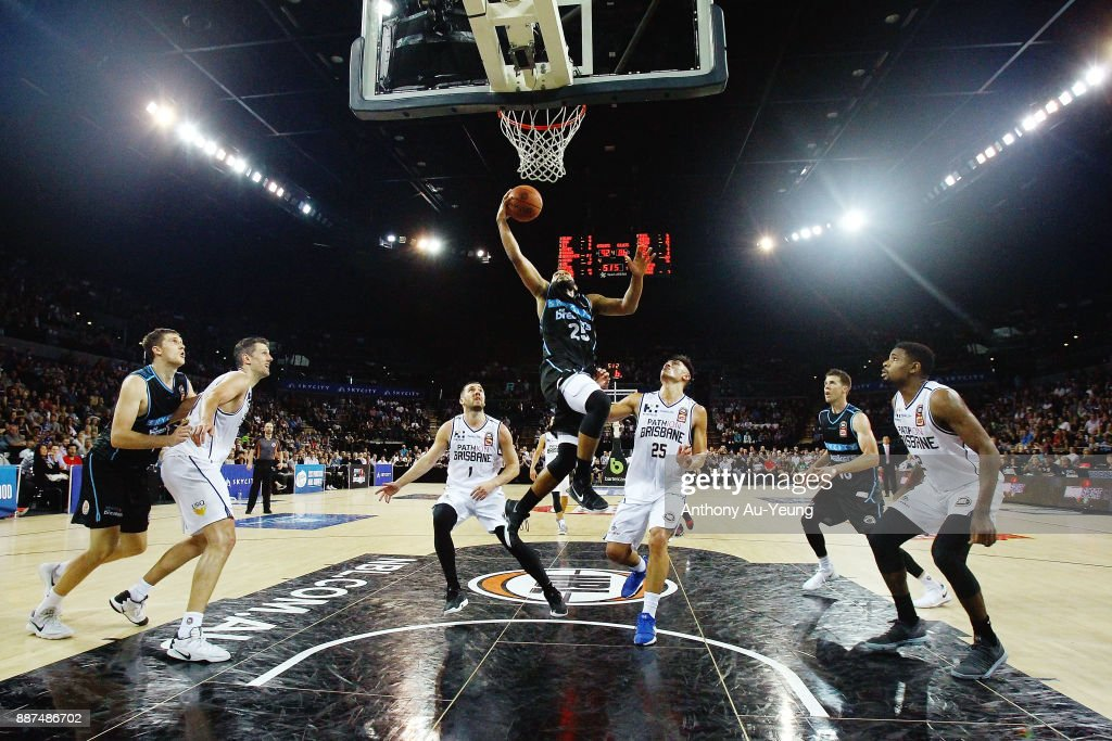 Devonte DJ Newbill of the Breakers scores a basket late in the game during the round nine NBL match between the New Zealand Breakers and the Brisbane Bullets at Spark Arena on December 7, 2017 in Auckland, New Zealand.