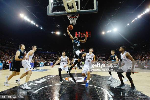 Devonte DJ Newbill of the Breakers scores a basket late in the game during the round nine NBL match between the New Zealand Breakers and the Brisbane...