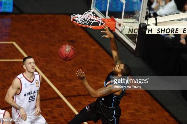 Devonte DJ Newbill of the Breakers with a dunk during the round five NBL match between the New Zealand Breakers and the Adelaide 36ers at North Shore...
